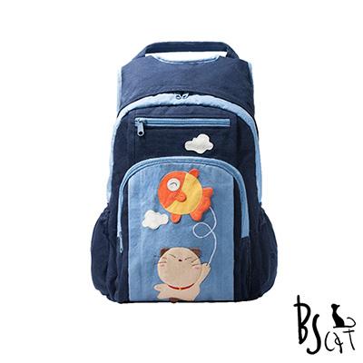ABS貝斯貓 可愛貓咪拼布 雙肩後背包 背包 (藍) 88-199