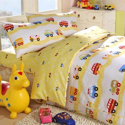 義大利Fancy Belle 車車遊樂園 雙人四件式天絲舖棉兩用被床包組