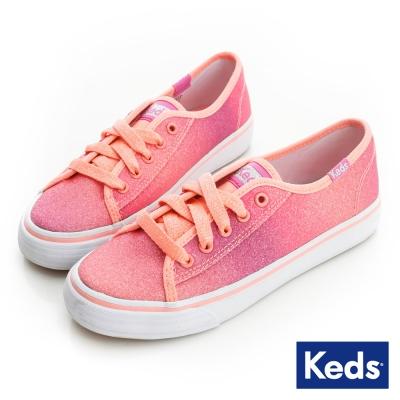 Keds 漸層亮片帆布鞋(For Kids)-珊瑚粉