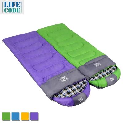 LIFECODE《純棉格子》秋冬加寬可拼接全開式睡袋(2入組) 4色可選