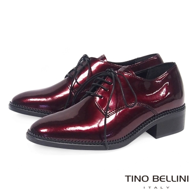 Tino Bellini 義大利進口金屬皮中性綁帶皮鞋 _ 紅