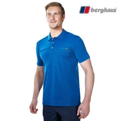 【Berghaus貝豪斯】男款銀離子快乾抗UV短袖POLO衫S14M03海藍