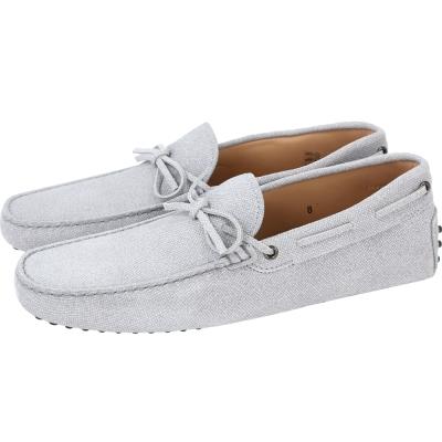 TOD'S Gommino Driving 牛皮綁帶豆豆休閒鞋(男鞋/淺灰色)