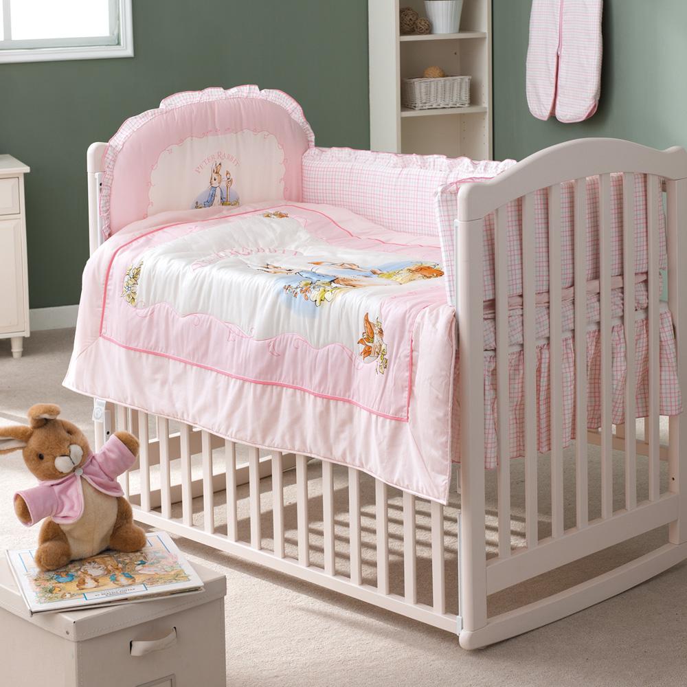 古典白色大床+粉彩比得兔六件大床組(淺粉)