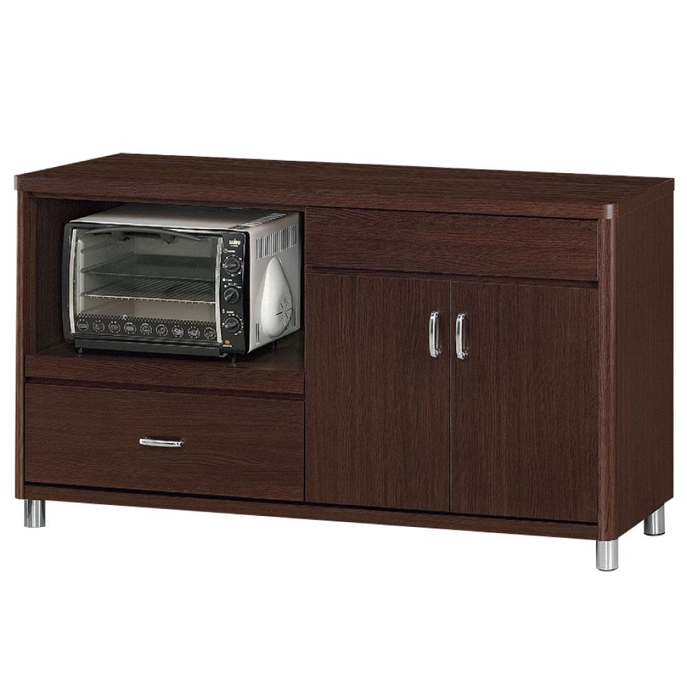 品家居 米蘭5尺胡桃色餐櫃下座-151.5x46x85cm-免組