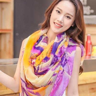 Seoul Show 彩墨飄渺巴黎紗編織圍巾3色  橘紫色