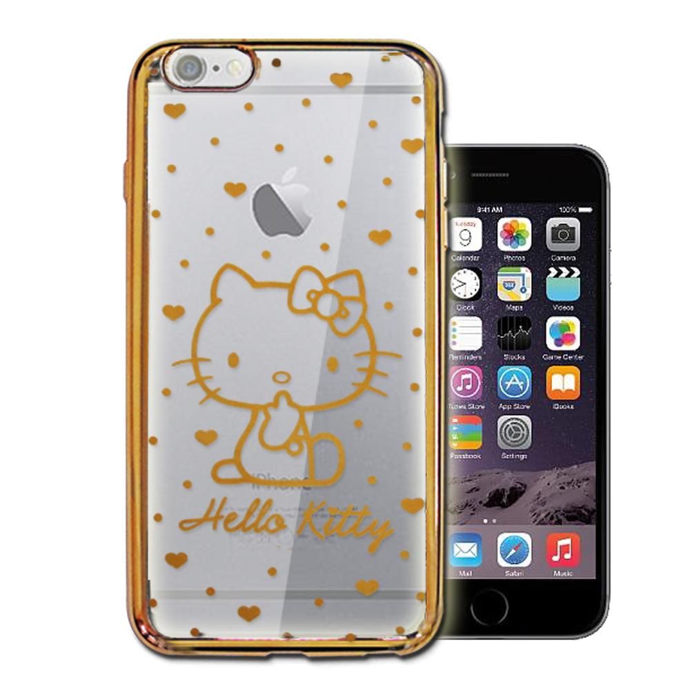 三麗鷗Hello Kitty iPhone 6s/6 4.7吋 雷雕電鍍手機殼(愛心-金)