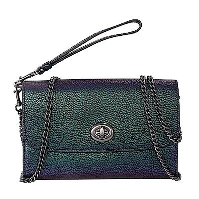 COACH孔雀綠紫霓彩全皮旋釦翻合長夾式手掛/斜背小包