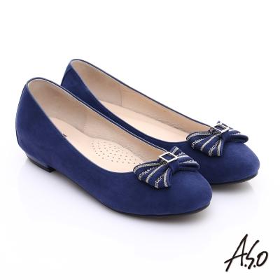 A.S.O 輕透美型 絨面羊皮蝴蝶結飾窩心平底鞋 藍