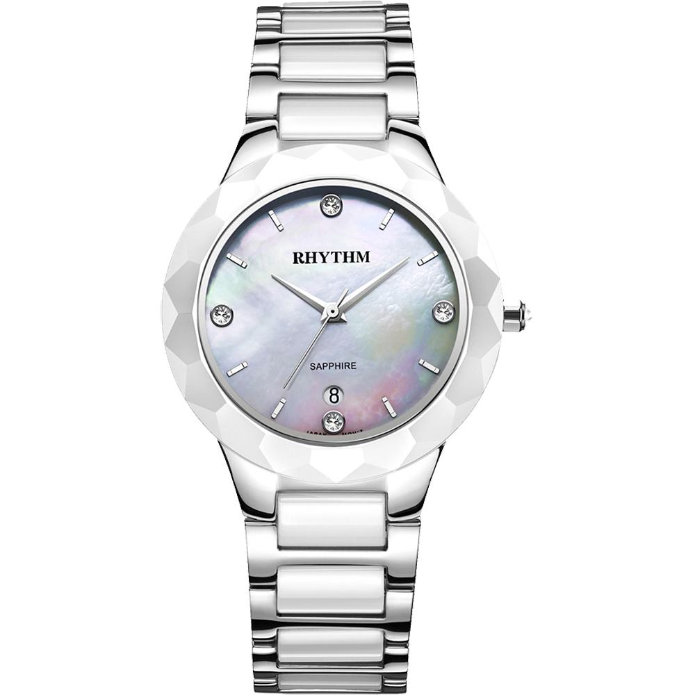 RHYTHM日本麗聲 簡約晶鑽陶瓷女錶-珍珠貝x銀/38mm F1205T01