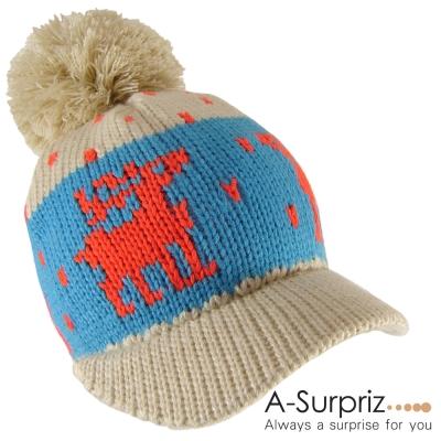 A-Surpriz-糜鹿大毛球硬帽簷毛線帽-米卡系