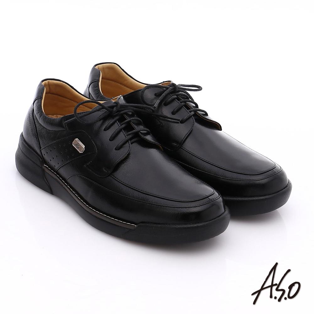 A.S.O 超能耐 綁帶羊皮寬楦奈米皮鞋 黑色