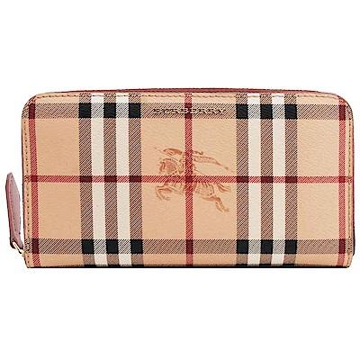 BURBERRY Haymarket 格紋皮革環繞式拉鍊皮夾(駝色皮革/淺接骨木莓色)