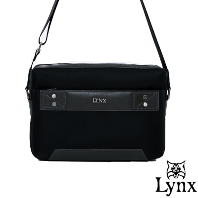 Lynx - 山貓紳士極簡風格橫式真皮斜側背包(小)-沉穩灰