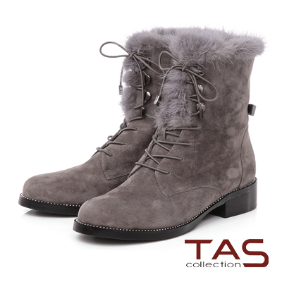 TAS 貂毛滾邊鑽底麂皮綁帶短靴-冬季灰