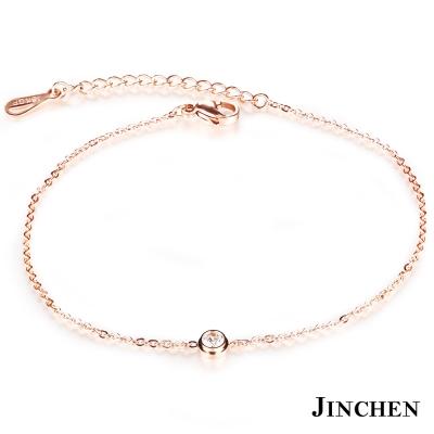 JINCHEN 白鋼單鑽時尚腳鍊 玫瑰金