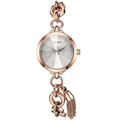 JULIUS聚利時 季節女神流蘇唯美鍊式腕錶-玫瑰金/ 22 mm