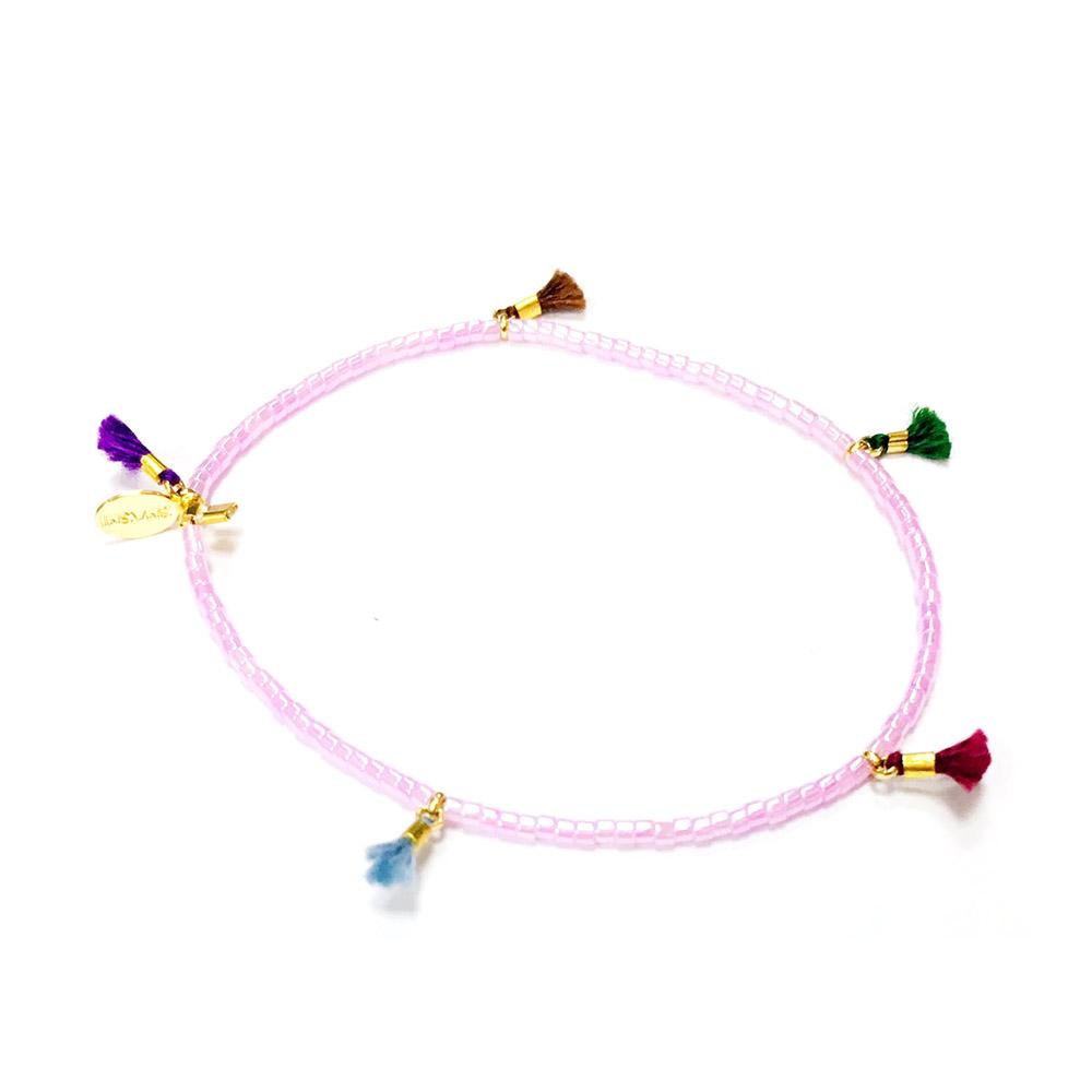 SHASHI Morgan Pink Shell 微顆粒珠珠 流蘇手鍊 貝殼粉 彈性手圍