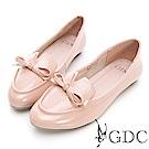 GDC-真漆皮v剪裁蝴蝶結尖頭平底包鞋-粉色