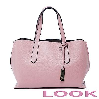 LOOK-真皮貝殼手提包-俏麗女孩Queena系列-甜漾粉