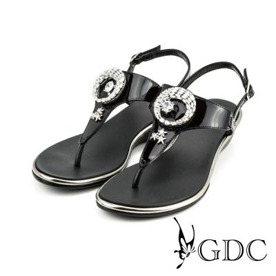 GDC-日月星辰水鑽漆皮楔型厚底T字夾腳涼拖鞋-黑色