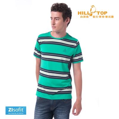 【hilltop山頂鳥】男款ZIsofit吸濕排汗彈性上衣S04MB7顯綠