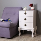 Asllie艾薇三抽櫃/收納櫃/邊櫃/電話櫃/床頭櫃-白色-40x36x65cm