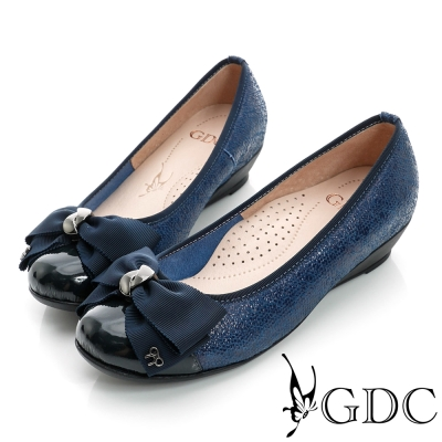 GDC典雅-蝴蝶結亮片楔型真皮低跟鞋-藍色