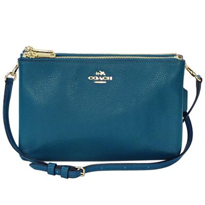 COACH孔雀藍荔枝紋全皮雙層拉鍊袋手抓/斜背小包