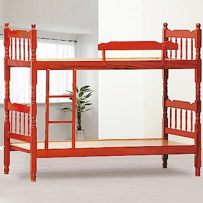 AS-費茲捷勒5尺紅木色雙層床-155x194x164cm