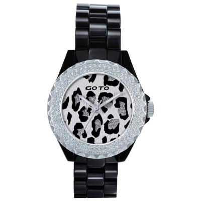 GOTO Leopard潮流時尚陶瓷腕錶-黑x白/39mm