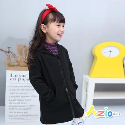 Azio Kids 童裝-外套 寬鬆休閒純色雙口袋連帽外套(黑)