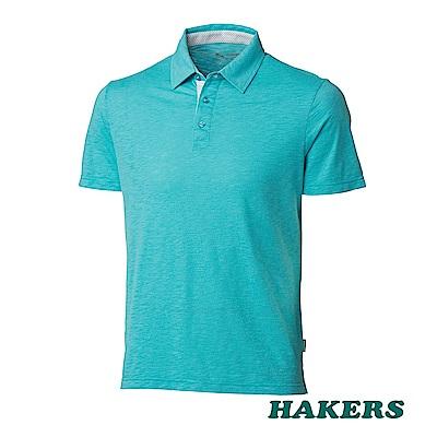 【HAKERS】男- 抗UV短袖POLO衫-青瓷色
