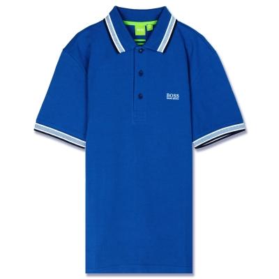 HUGO BOSS 綠標滾邊線素面POLO男衫(寶藍)