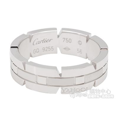 Cartier卡地亞 經典法國坦克造型750白K金戒指(#56)