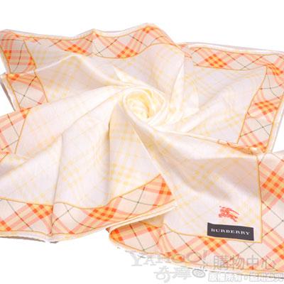 BURBERRY 經典斜格紋邊框戰馬刺繡大領巾(黃)
