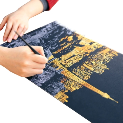 LAGO 手刮城市金色夜景手刮畫(附刮棒)-巴黎