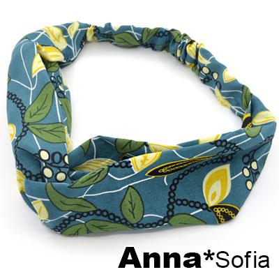 AnnaSofia 珠葉圖騰交叉結 彈性寬髮帶(綠底系)