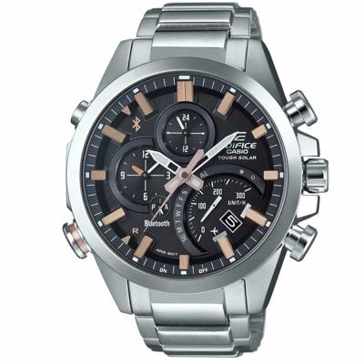 EDIFICE先進技術高科技藍牙傳輸賽車錶(EQB-500D-1A2)-黑x古銅金/48