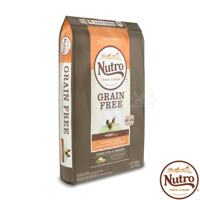 【Nutro 美士】低敏無穀 成犬糧(農場鮮雞+扁豆+地瓜)4磅 X1包