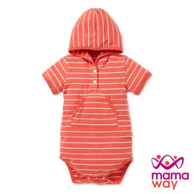 短袖包屁衣 BABY連帽開襟橫條包屁衣(共五色) Mamaway