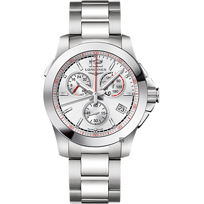 LONGINES 浪琴 征服者馬術競賽計時腕錶-銀/41mm