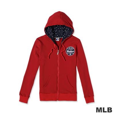 MLB-紐約洋基隊繽紛點點連帽長袖外套-紅色-女