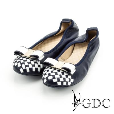 GDC-蝴蝶結雙色編織格紋彈力舒適真皮平底娃娃鞋-藍色