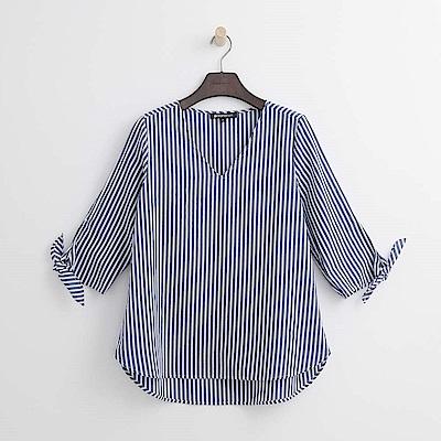 Hang Ten - 女裝 - V領袖綁結條紋襯衫-藍色
