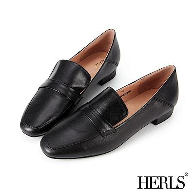 HERLS-全真皮-簡約俐落素面低跟樂福鞋-黑色