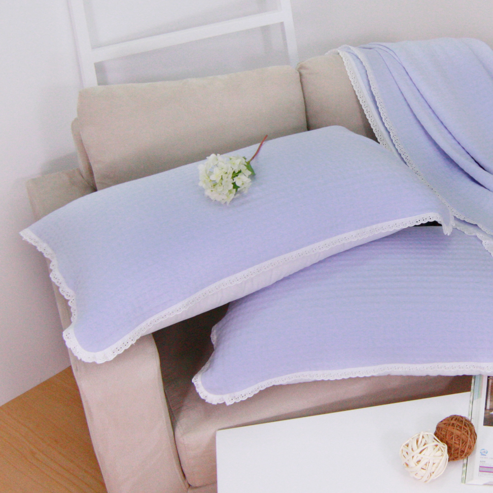 鴻宇HongYew 美國棉 針織枕巾2入 藍 @ Y!購物