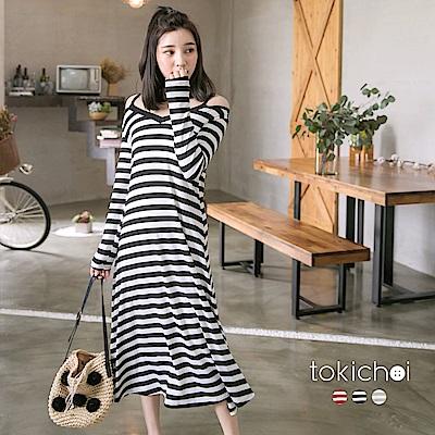 東京著衣-多色休閒可愛條紋長洋裝