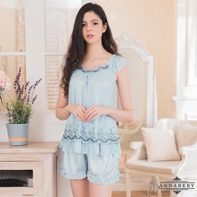 大尺碼Annabery粉藍色柔緞小蓋袖睡衣短褲二件組 藍色 L-2L Annabery
