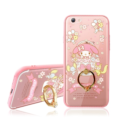 美樂蒂 OPPO R9s 5.5吋 指環扣支架手機殼(繽紛花花)